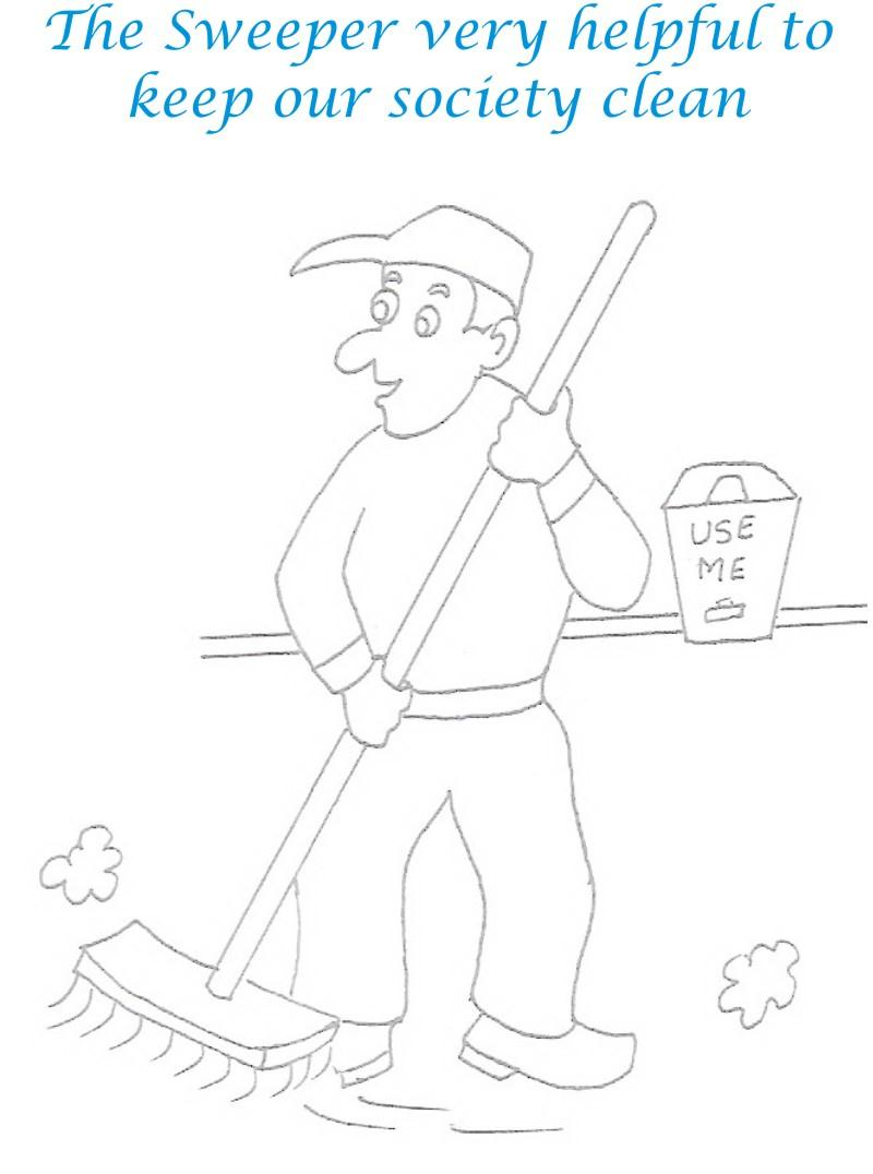 Sweeper coloring printable page for kids