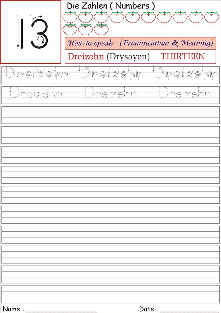 German Number Worksheet For Practice Dreizehn