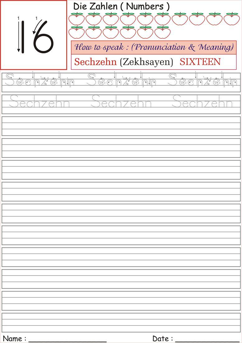 german number worksheet for practice sechzehn. Black Bedroom Furniture Sets. Home Design Ideas