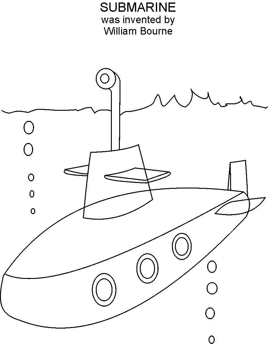 Submarine coloring printable page