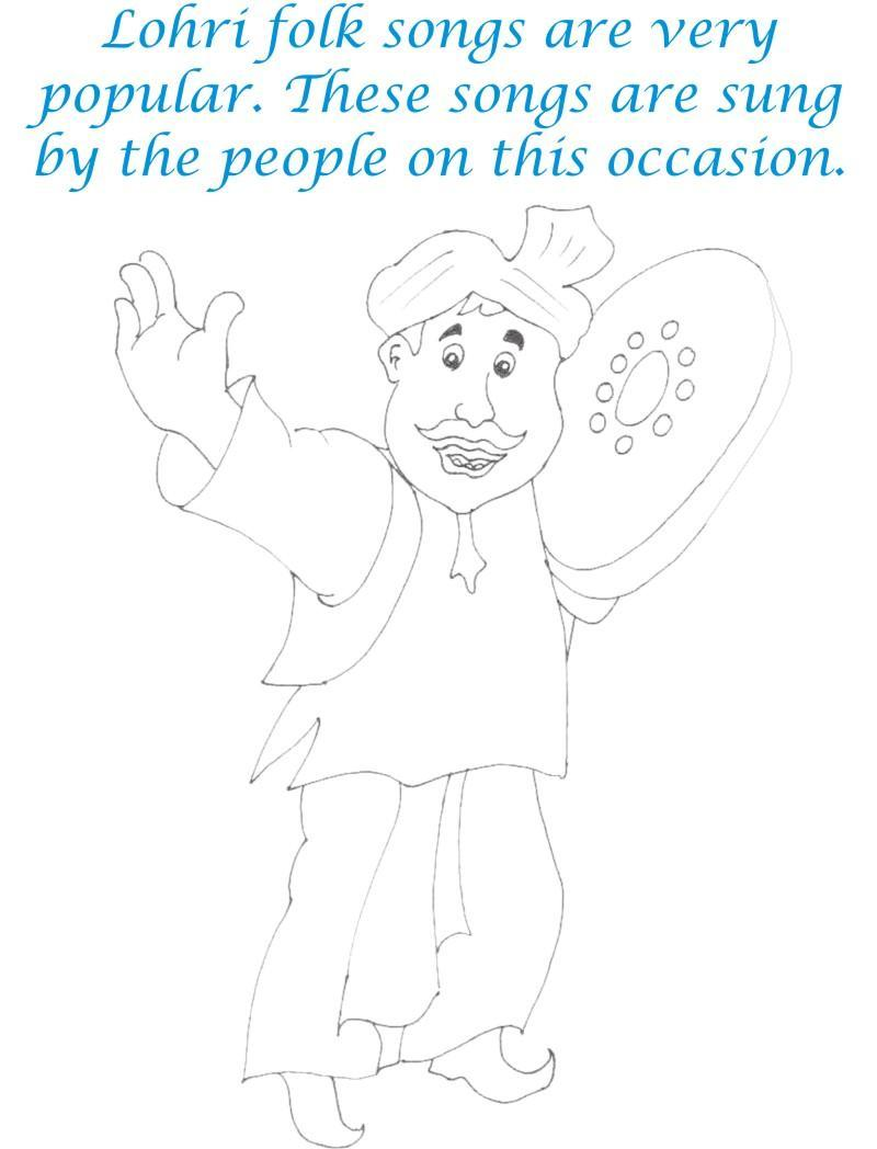 Lohri Folks Songs Printable Coloring Page for kids