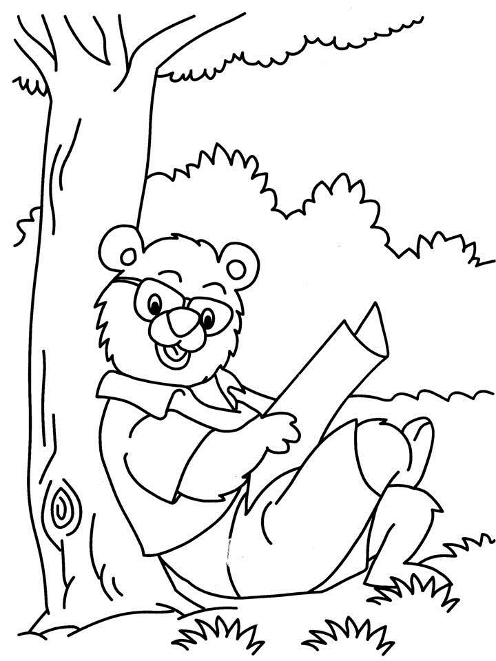 bear reading newspaper coloring printable page. Black Bedroom Furniture Sets. Home Design Ideas
