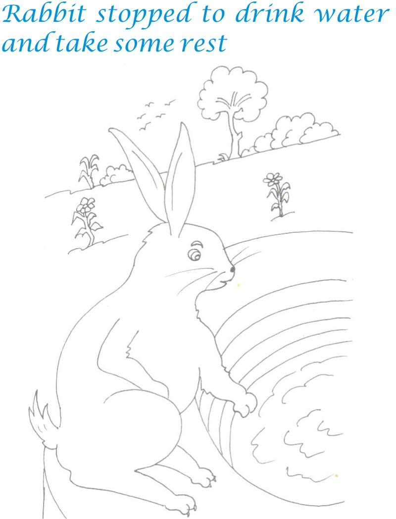 Rabbit on well coloring page for kids