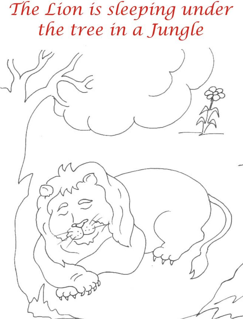 The Sleeping Lion Coloring Page Printable for kids