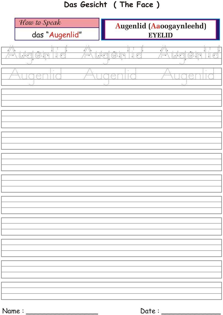 Worksheets for German names of our body parts - Augenlid