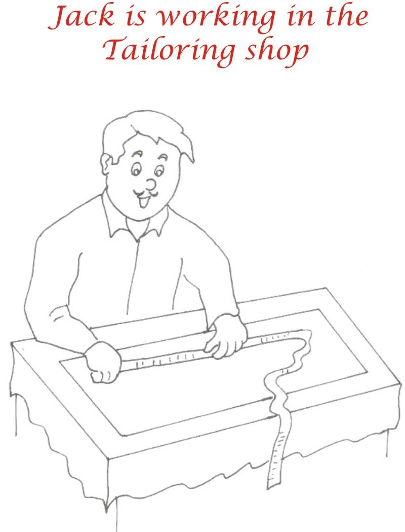 Jack working at shop coloring printable for kids