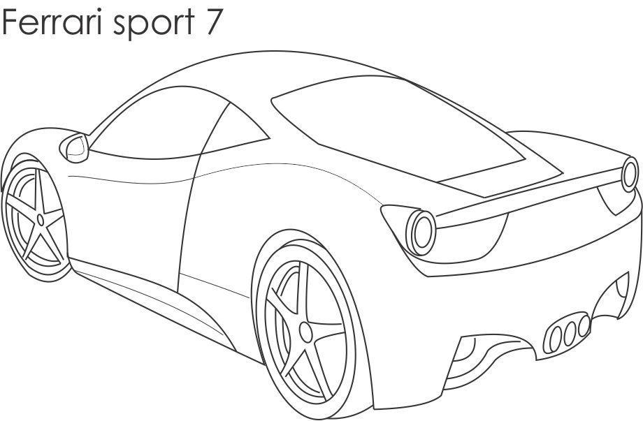 Super Car Ferrari Sport 7 Coloring Page For Kids
