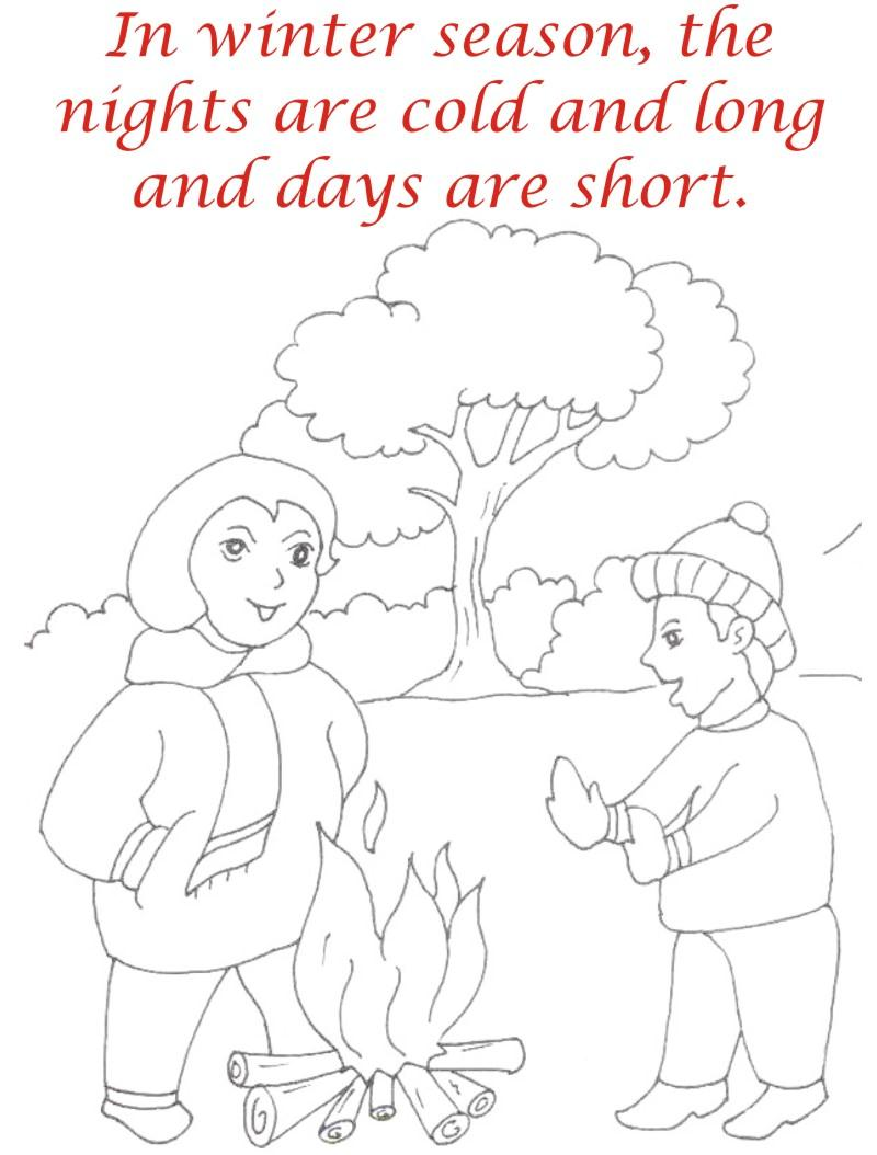 Winter season coloring printable page2 for kids