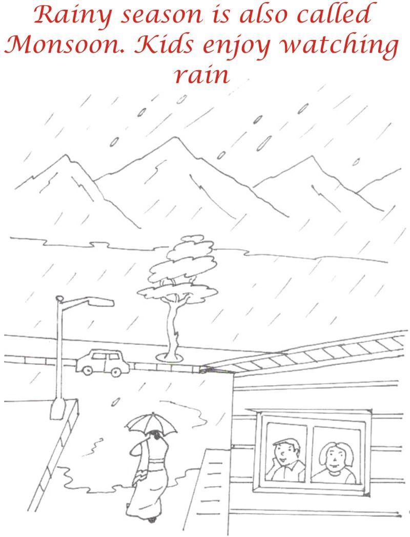 Rainy Season coloring printable