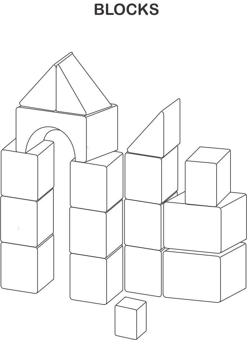 blocks coloring printable page for kids