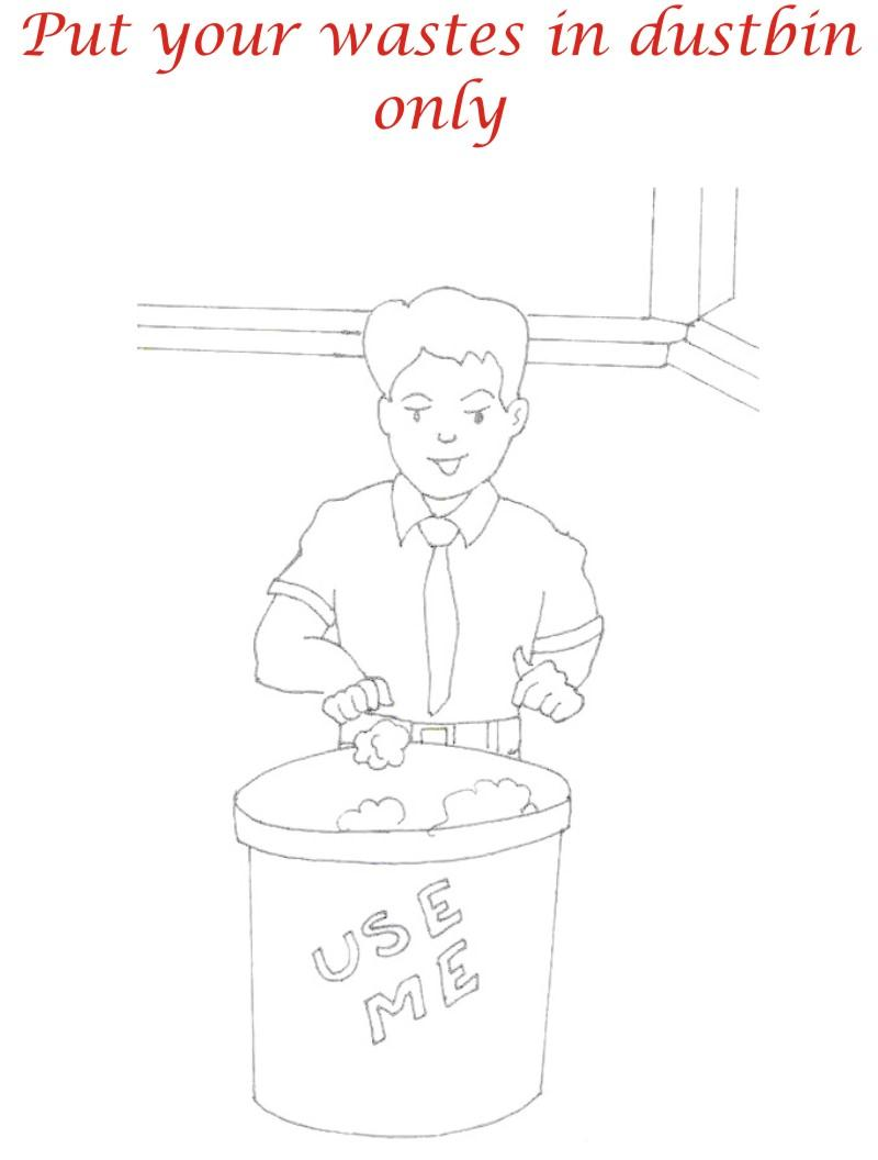 Use dustbin coloring printable page for kids