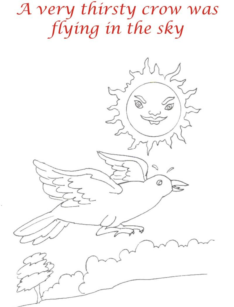 Thirsty crow story coloring page for kids 2