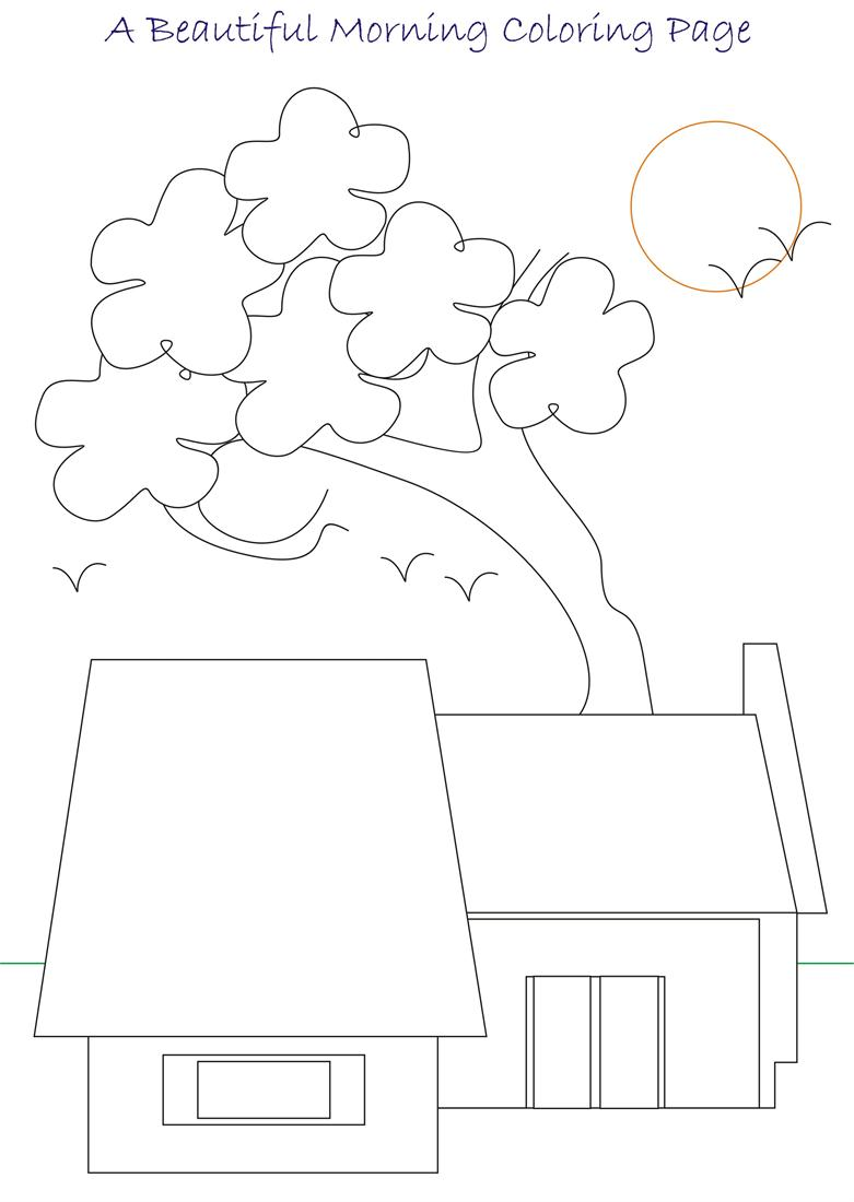 Beautiful morning coloring page for kids