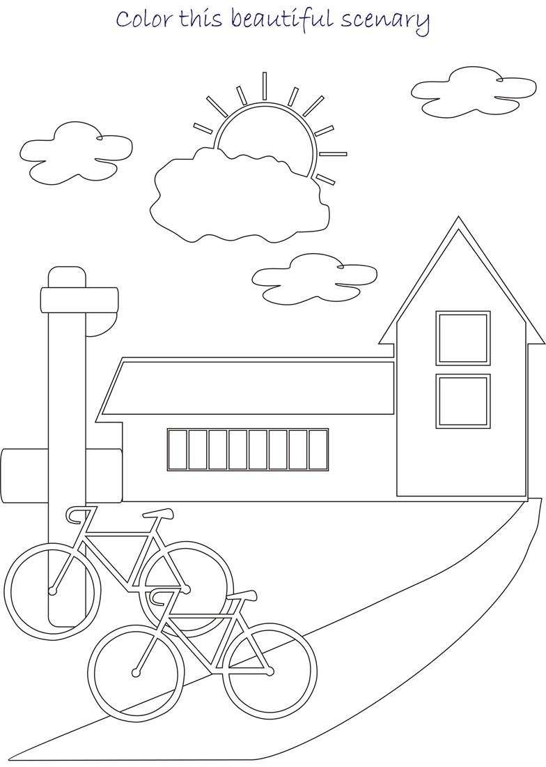 beautiful scenery coloring page for kids 3. Black Bedroom Furniture Sets. Home Design Ideas
