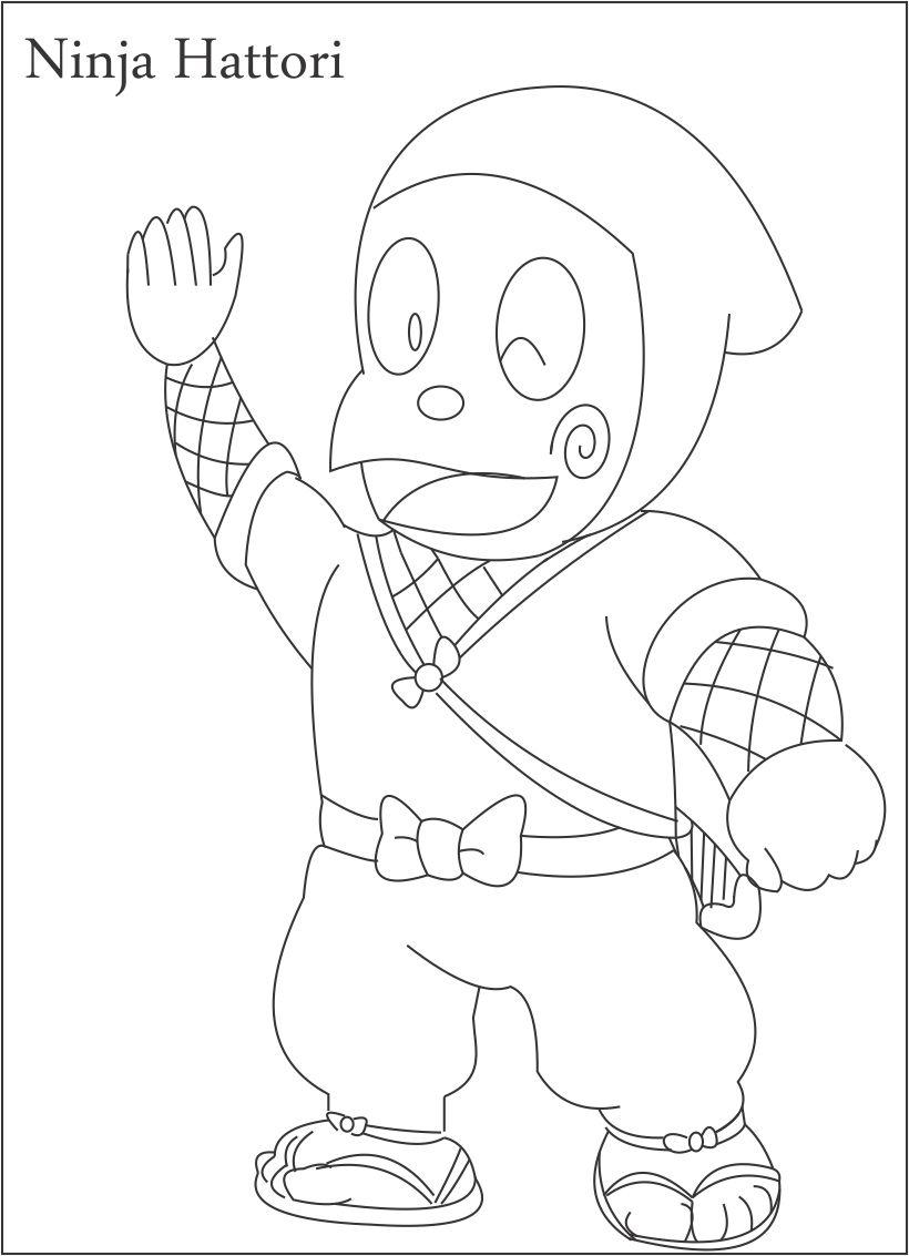 Ninja Hattori Coloring Page For