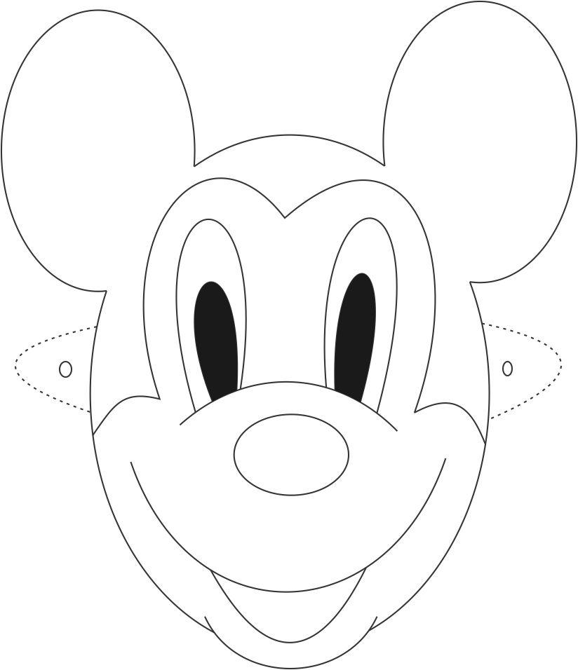 Mickey mouse mask printable coloring page for kids