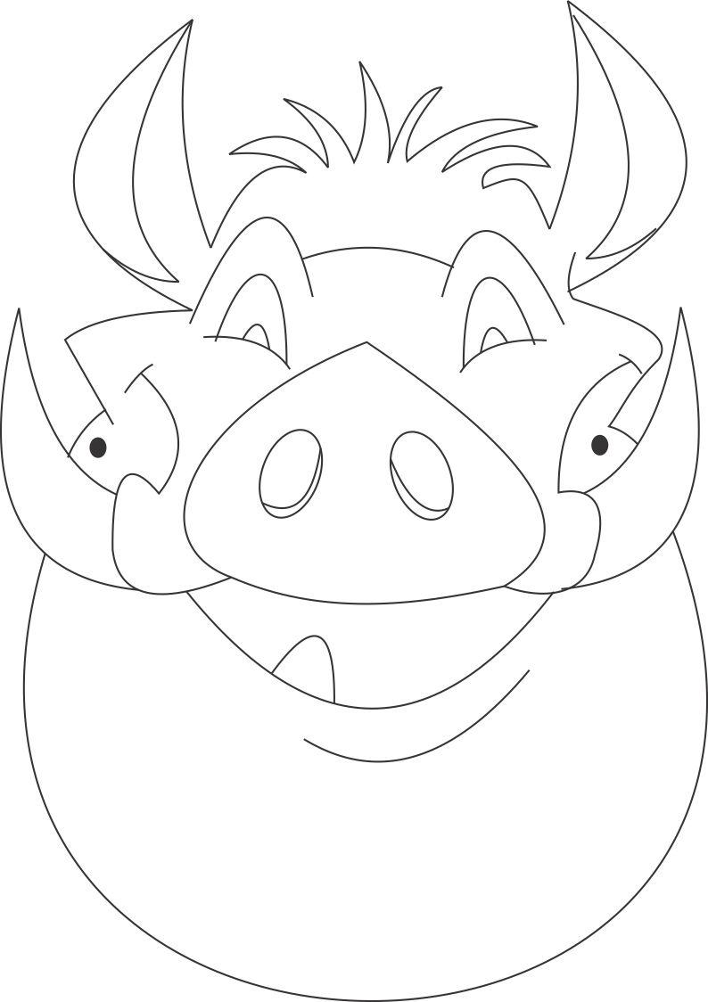 Pumba mask printable coloring page