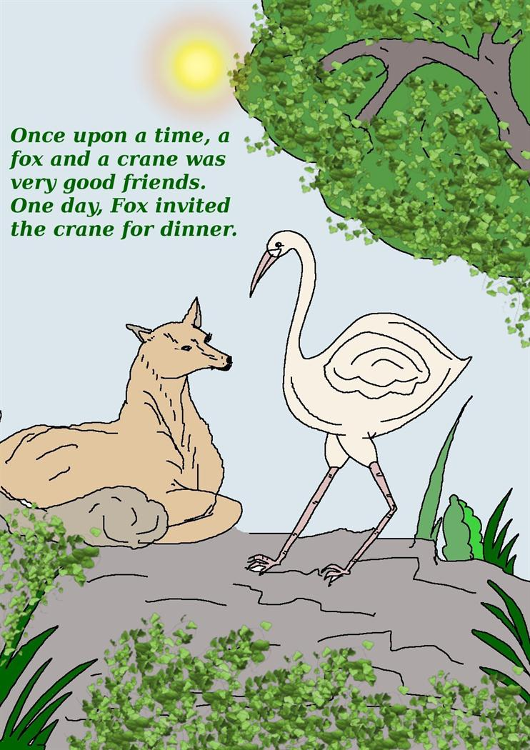 Fox And Crane Story And Coloring Pages