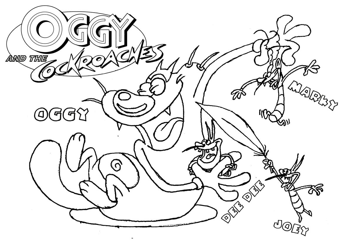 oggy and olivia coloring pages - photo #6