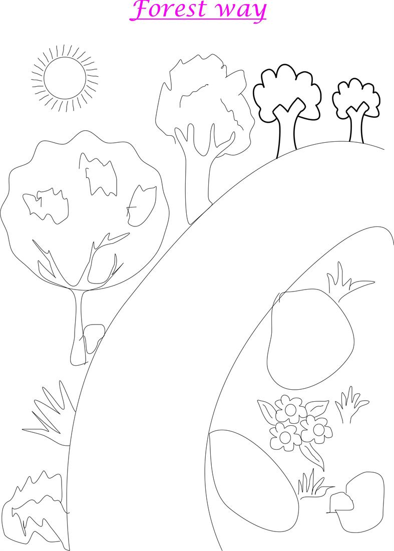 Forest scenery coloring page printable