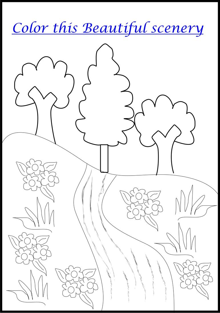 Scenery coloring page printable for kids