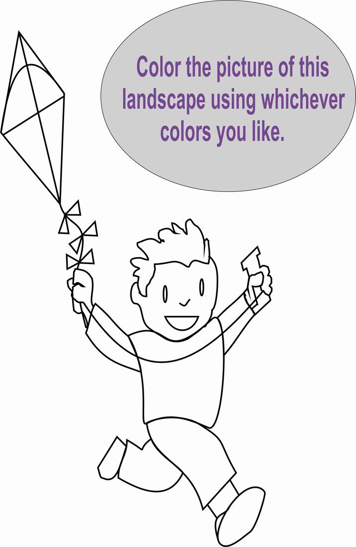Boy with kite coloring page for kids