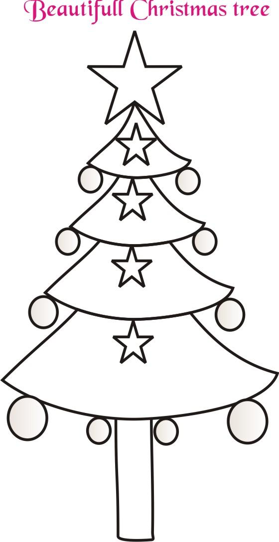 Christmas Tree Drawing Easy For Kids Step By Step