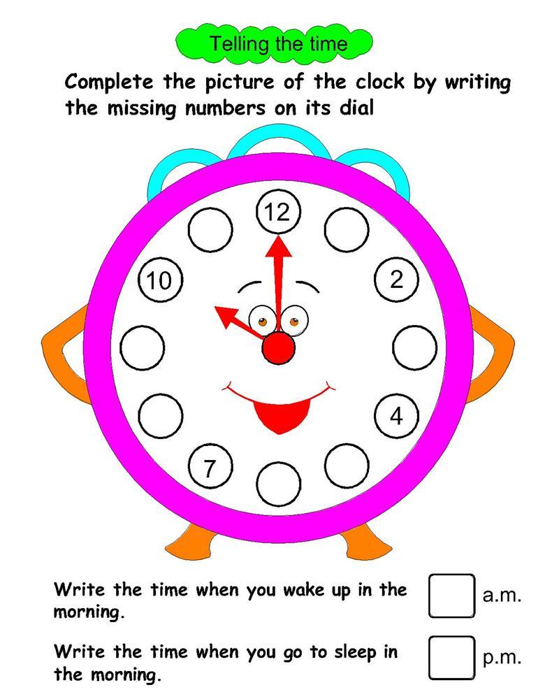 Workbooks ukg worksheets : Telling Time worksheets for UKG students