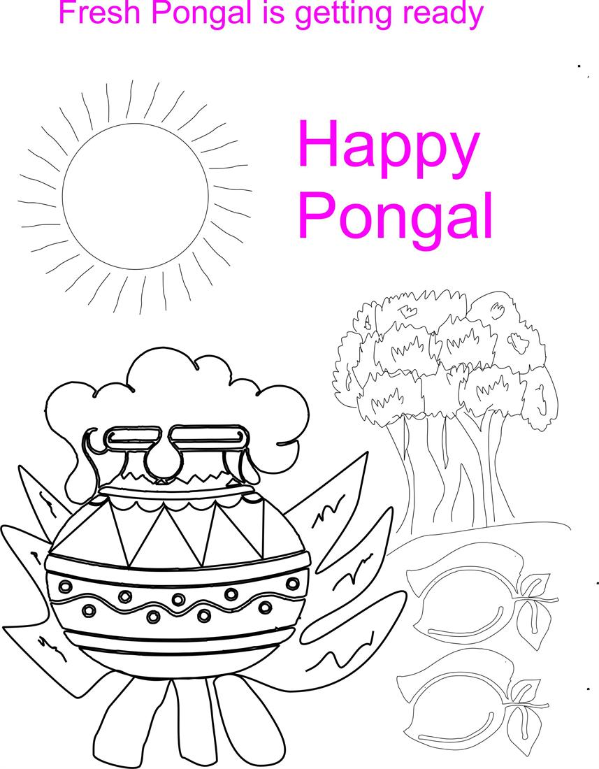 Pongal Pot Coloring Printable Page For Kids