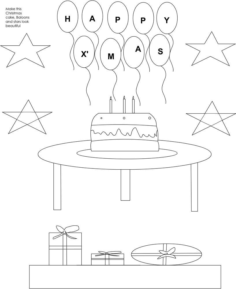 Christmas Cake coloring printable page for kids