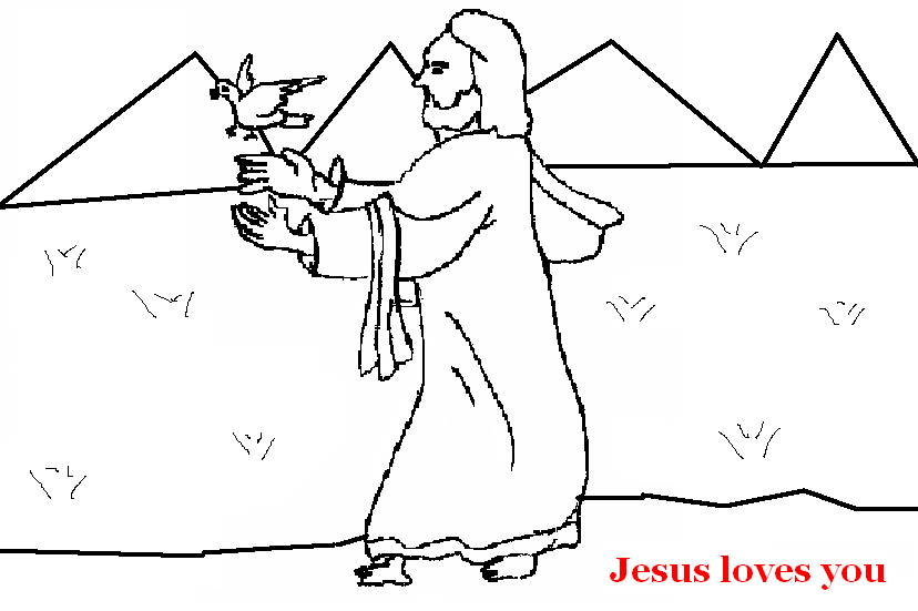 Jesus with bird coloring page for kids