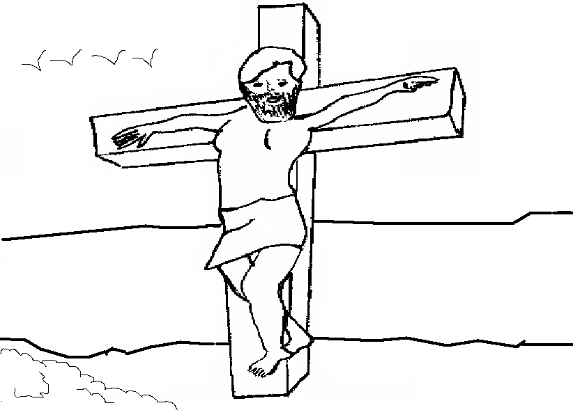 Jesus hanging coloring printable page for kids