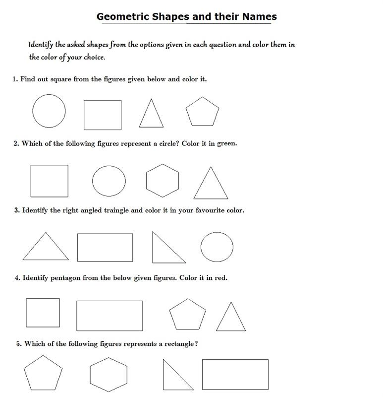 Printable Worksheets shapes worksheets pdf : Identify the shapes