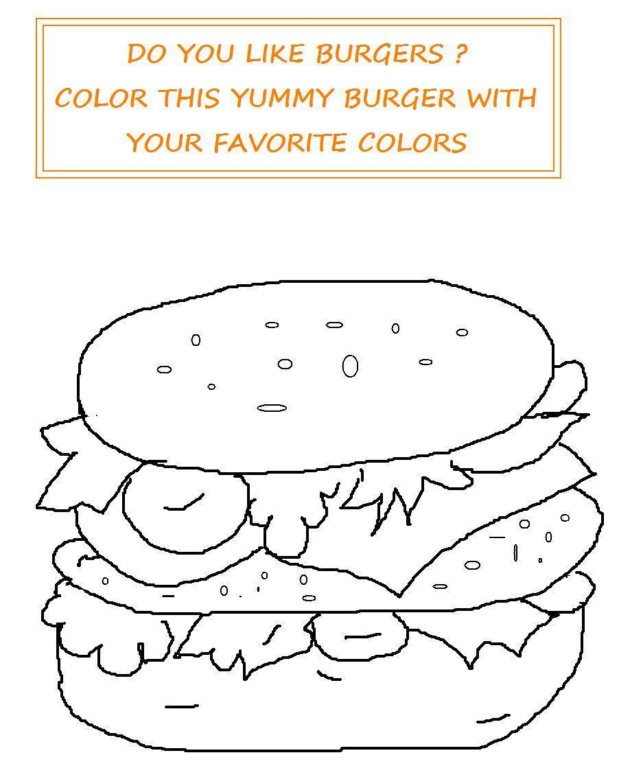 Burger coloring printable page for kids