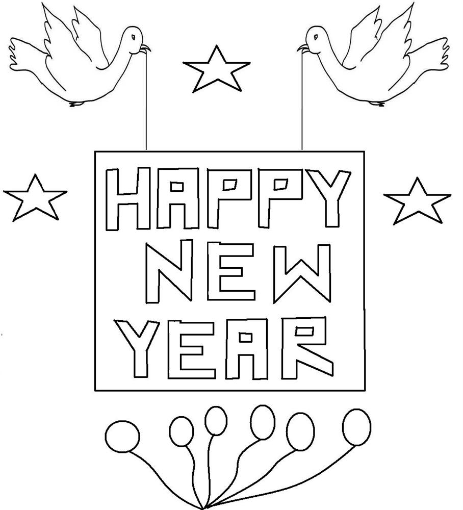 New year birds coloring printable
