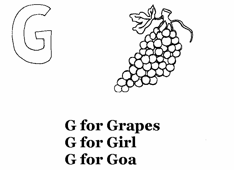 Alphabet - G coloring printable page for kids