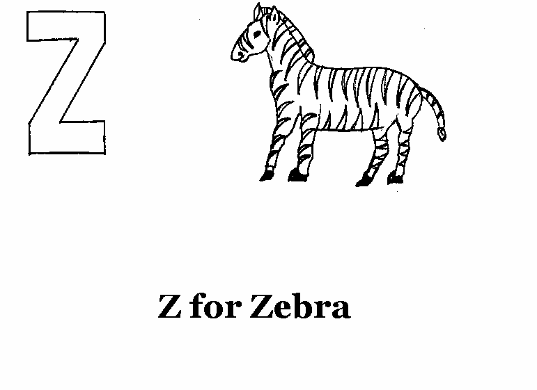 Alphabet - Z coloring printable page for kids