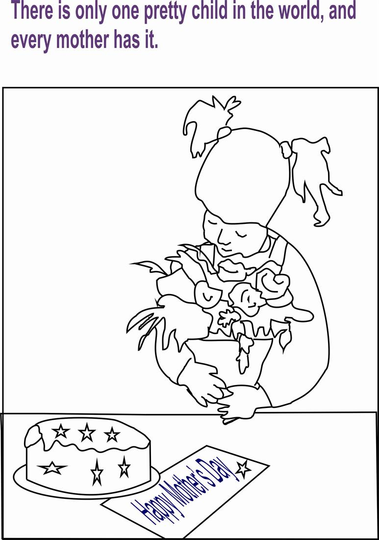 Mothers day coloring printable page for kids 4