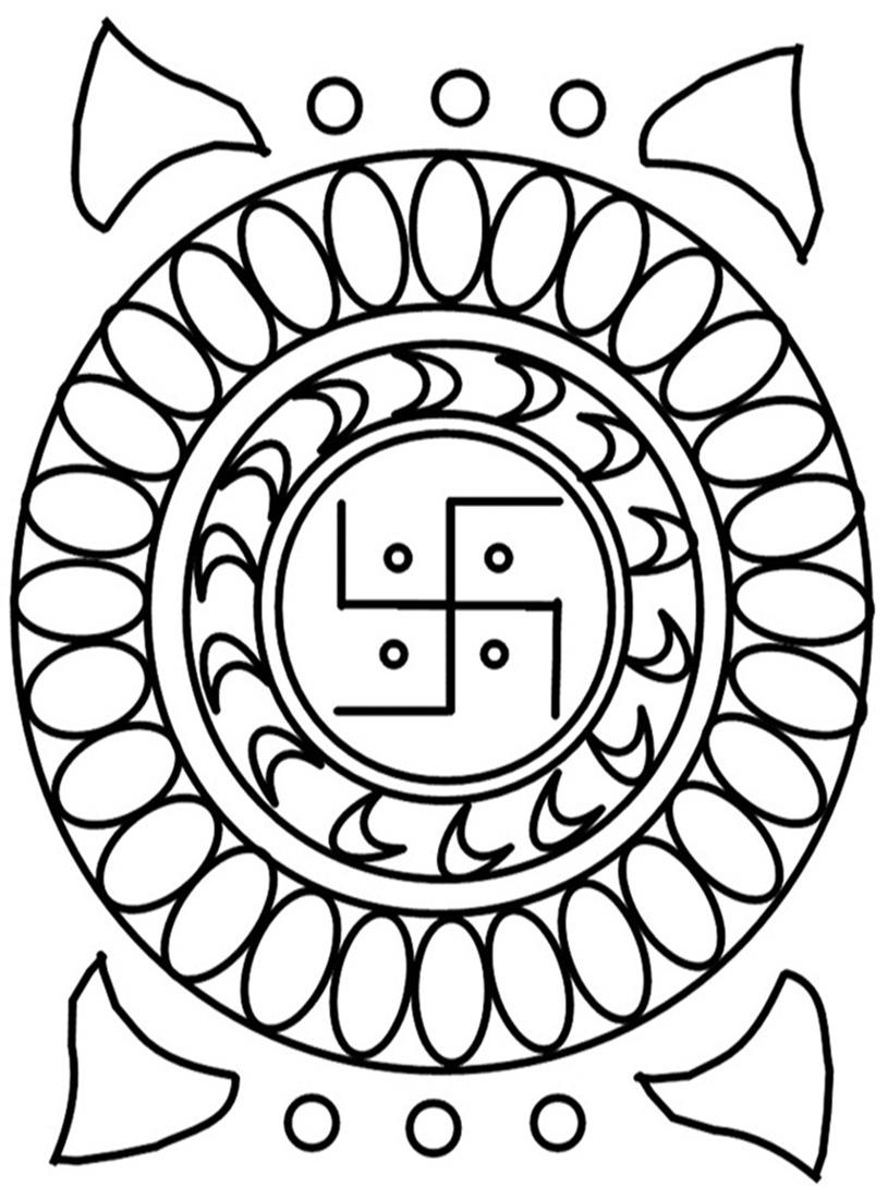 Rangoli coloring printable page 5 for kids