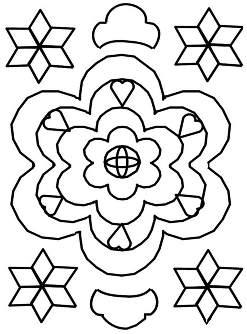 Rangoli coloring printable page 6 for kids