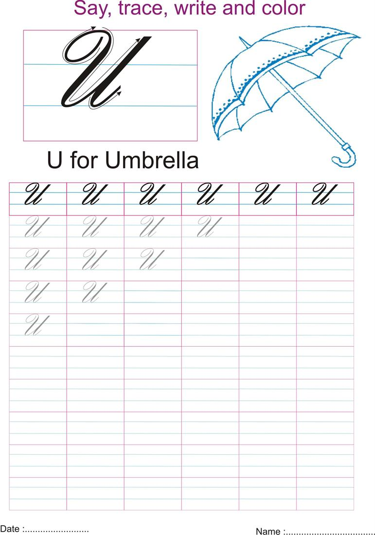 Cursive captial letter U  worksheet