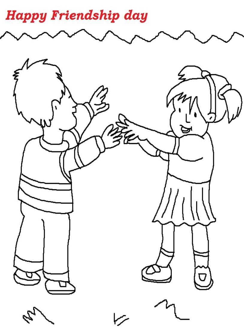 Friendship day printable coloring