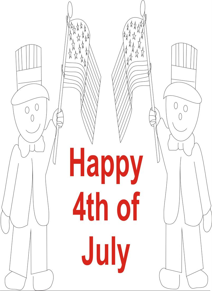 July 4th printable coloring page for kids 4