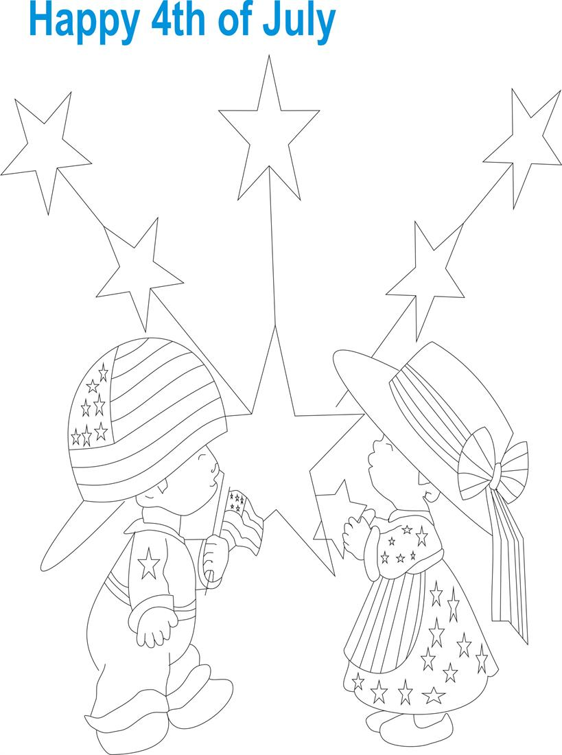 July 4th printable coloring page for kids 7