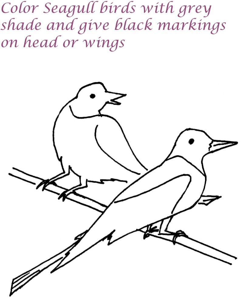Seagull birds printable coloring page for kids