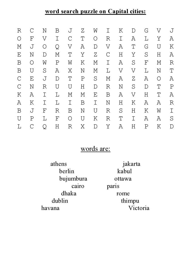 2011 >> Word search puzzle on capital cities