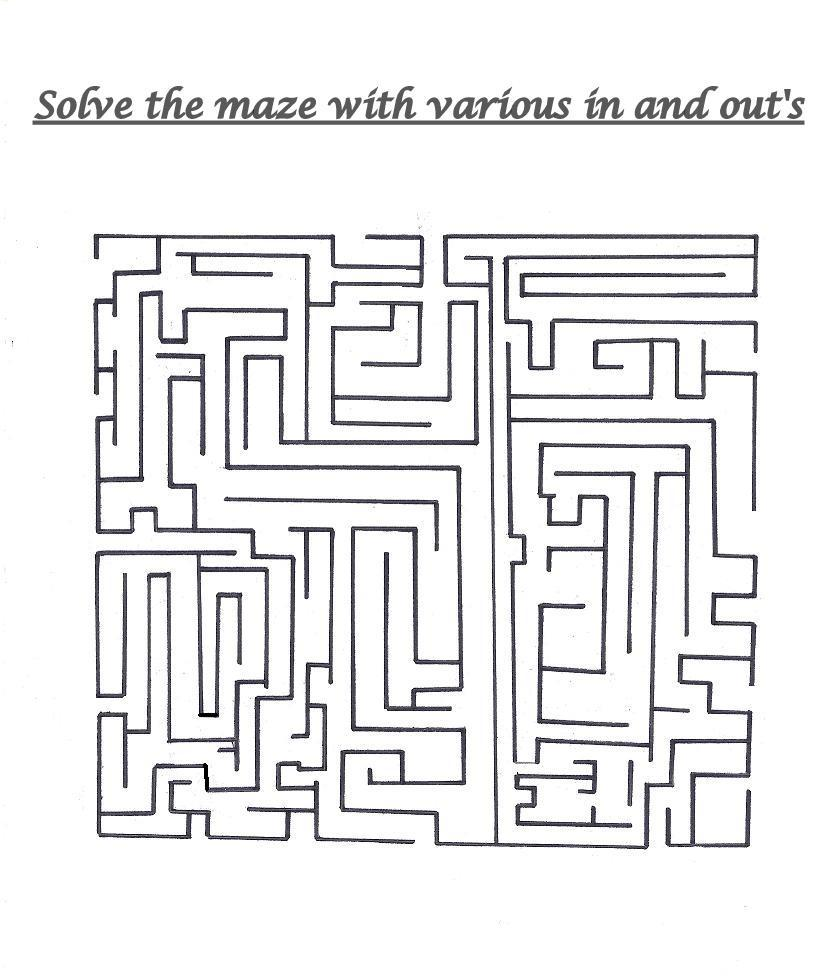 Solve the maze with various in and out opens in a square