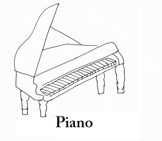 Piano coloring page printable for