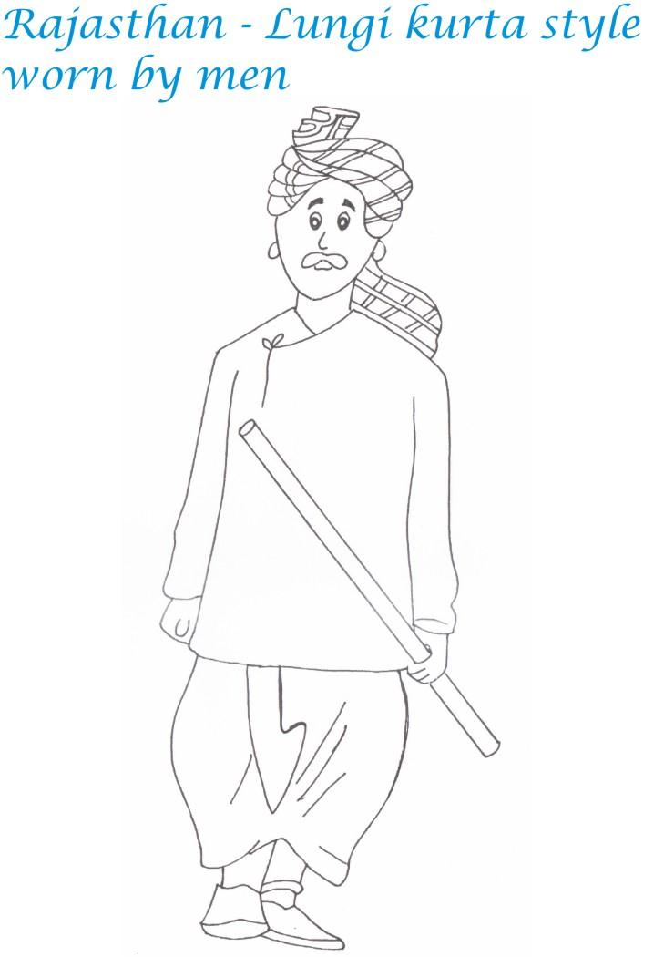 Rajasthan Menswear Printable Coloring Page For Kids