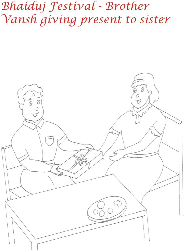 Bhaiduj gift to sister coloring page for kids